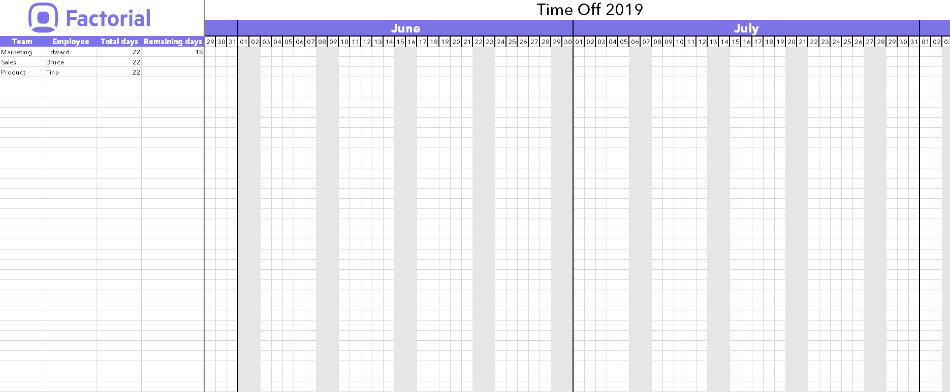 Employee Attendance Tracker Excel Template 2019 from factorialhr.co.uk