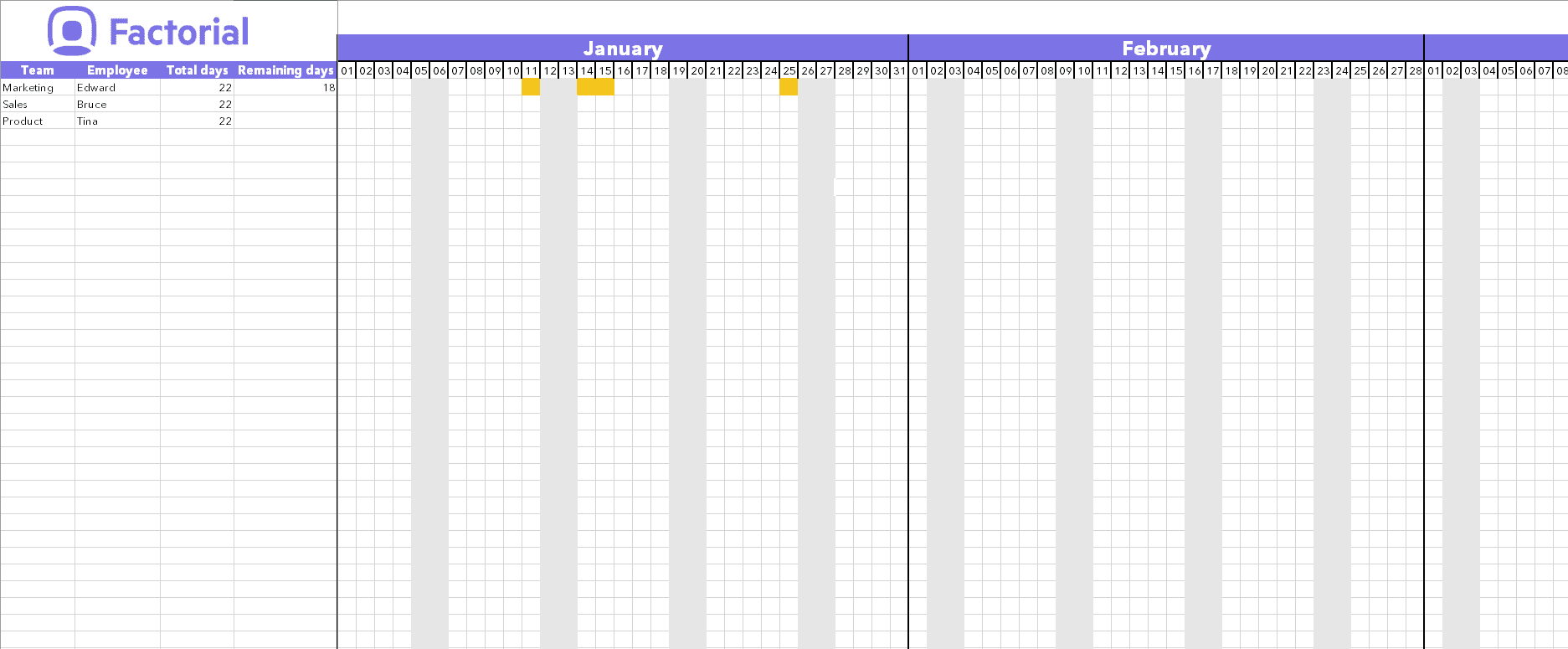 Factorial HR time off template vacation days