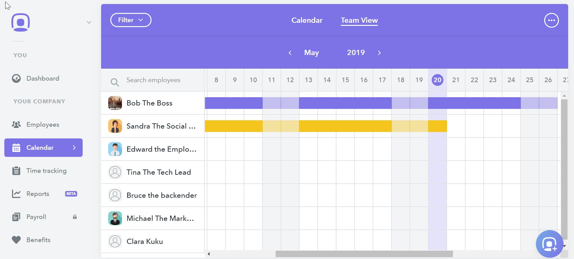 hr software calendar